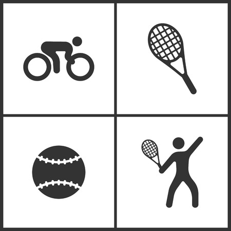 Vector Illustration of Sport Set Icons. Elements of Bicycle, Tennis, Tennis ball and Tennis player icon on white background Illustration