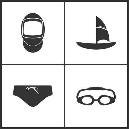 Vector Illustration of Sport Set Icons. Elements of Fencing swords, Sailing boat, Man Beach Shorts and Goggles icon on white background Vettoriali