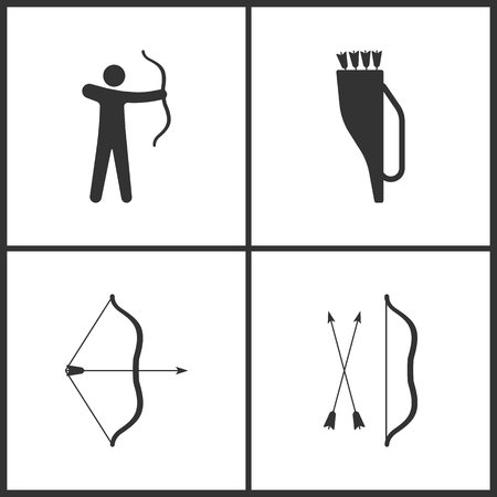 Vector Illustration of Sport Set Icons. Elements of Archer, Arrow quiver and Arrow and bow icon on white background