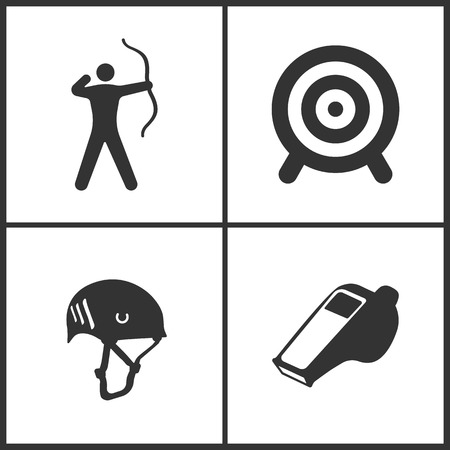 Vector Illustration of Sport Set Icons. Elements of Archer, Target, Climbing helmet and Whistle icon on white background