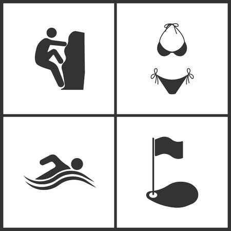 Vector illustration of sport set icons. Elements of rock climber, swimsuit, summer swim water information and golf icon on white background.
