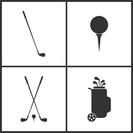 Vector Illustration of Sport Set Icons. Elements of Golfing, Golf ball, Golf clubs and Golf bag icon on white background
