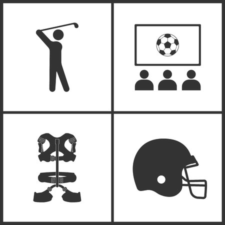 Vector illustration of sport set icons. Elements of golf player, fun club, climber belt and hockey helmet icon on white background.