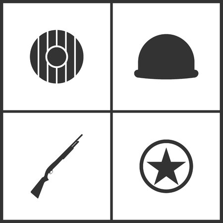 Weapon set icons vector illustration. Suitable for use on web apps, mobile apps and print media. Elements of shield, soldier helmet, shotgun and sheriff star icon on white background.