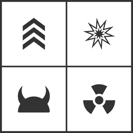 Weapon set icons vector illustration. Suitable for use on web apps, mobile apps and print media. Elements of military symbol, explosion, metallic knight helmet and radiation icon on white background. Illustration