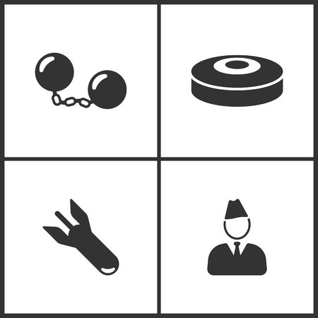 Weapon set icons vector illustration. Suitable for use on web apps, mobile apps and print media. Elements of bomb, land mines, and soldier icon on white background.