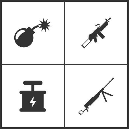 Weapon set icons vector illustration. Suitable for use on web apps, mobile apps and print media. Elements of bomb, explosive detonator and machine gun icon on white background.