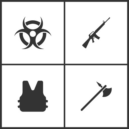 Weapon set icons vector illustration. Suitable for use on web apps, mobile apps and print media. Elements of bio-hazard, gun, bulletproof vest and viking military iron halbert icon on white background.