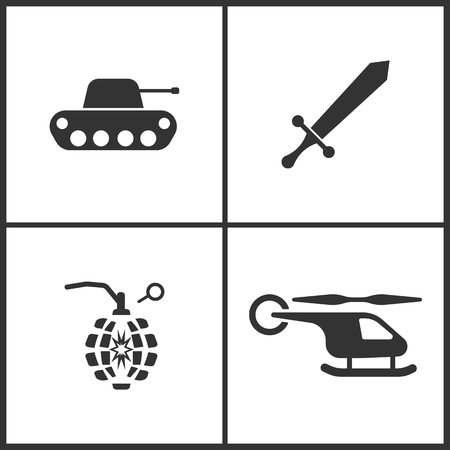 Weapon set icons vector illustration. Suitable for use on web apps, mobile apps and print media. Elements of tank, sword, hand grenade and helicopter icon on white background.
