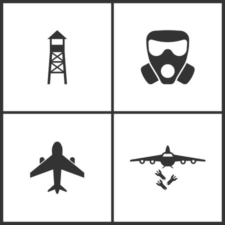 Weapon set icons vector illustration. Suitable for use on web apps, mobile apps and print media. Elements of Observation post, respirator, airplane and bombardment icon on white background.