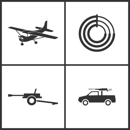 Weapon set icons vector illustration. Suitable for use on web apps, mobile apps and print media. Elements of plane, target, howitzer and rocket artillery icon on white background.