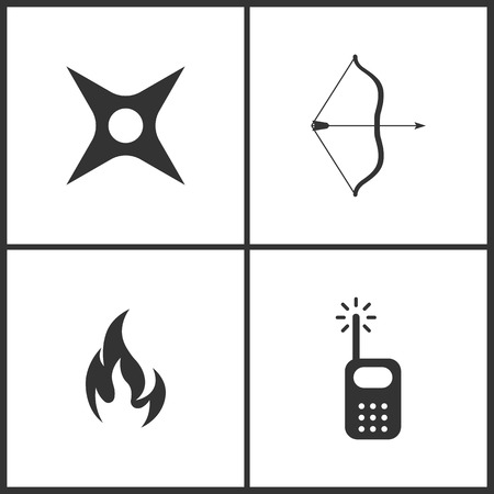 Weapon set icons vector illustration.Suitable for use on web apps, mobile apps and print media. Elements of ninja weapon star, arrow, bow, warning symbol flame and radio icon on white background.