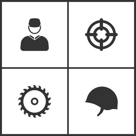 Weapon set icons vector illustration. Suitable for use on web apps, mobile apps and print media. Elements of soldier, target, saw and soldier helmet icon on white background.
