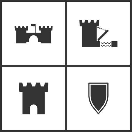 Weapon set icons vector illustration. Suitable for use on web apps, mobile apps and print media. Elements of castle and shield icon on white background. Illustration