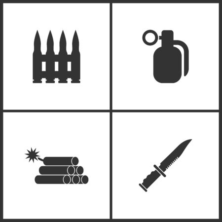 Weapon set icons vector illustration. Suitable for use on web apps, mobile apps and print media. Elements of automatic rifle bullet belts, hand grenade, dynamite and military or army knife icon on white background.