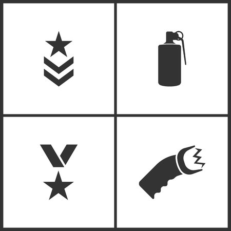 Weapon set icons vector illustration. Suitable for use on web apps, mobile apps and print media. Elements of military symbol, hand grenade explosive, war medal and shocker icon on white background. Illustration