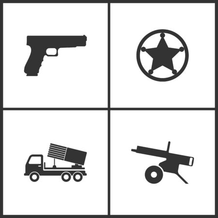 Weapon set icons vector illustration. Suitable for use on web apps, mobile apps and print media. Elements of pistol gun, sheriff star, howitzer, rocket artillery and machine gun icon on white background.
