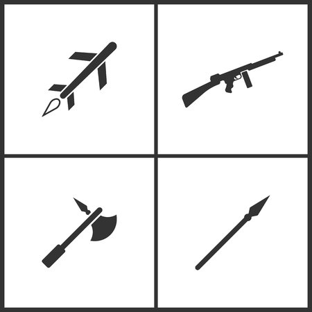 Weapon set icons vector illustration. Elements of cruise missile, machine gun, viking military iron halbert and medieval spear weapon with pointed head icon on white background.