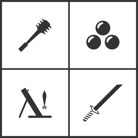 Weapon set icons vector illustration. Suitable for use on web apps, mobile apps and print media. Elements of spiked cudgel club weapon, cannon bomb, mortar and Japanese katana samurai sword icon on white background. Illustration