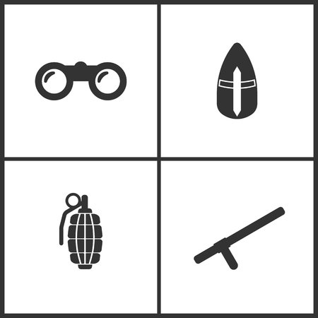 Vector illustration of weapon set icons. Suitable for use on web apps, mobile apps and print media. Elements of binoculars, metallic Knights helmet, hand grenade and police baton icon on white background. Illustration