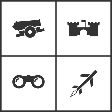 Vector illustration of weapon set icons. Suitable for use on web apps, mobile apps and print media. Elements of cannon, castle, binoculars and cruise missile icon on white background.