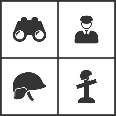 Vector Illustration of Weapon Set Icons. Suitable for use on web apps, mobile apps and print media. Elements of Binoculars, Soldier, Soldier helmet and Memorial day of grave icon on white background