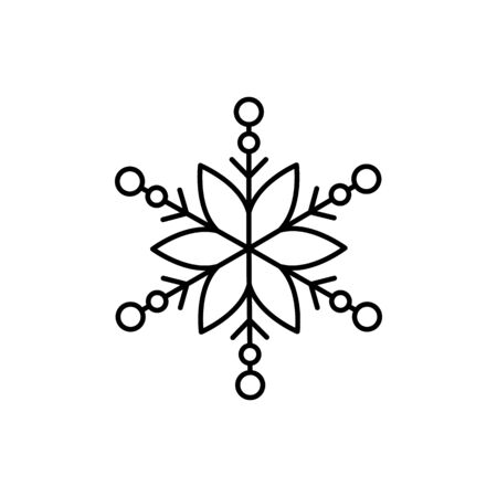 Snowflake icon. Simple line, outline vector flake of snow icons for ui and ux, website or mobile application on white background