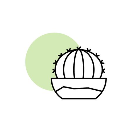 Cactus, plant icon. Simple line, outline vector elements of flora with green circle for ui and ux, website or mobile application on white background