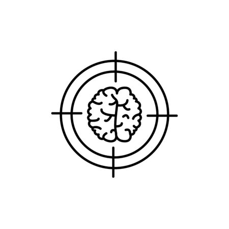 Target, brain icon. Simple line, outline vector elements of neurology for ui and ux, website or mobile application on white background
