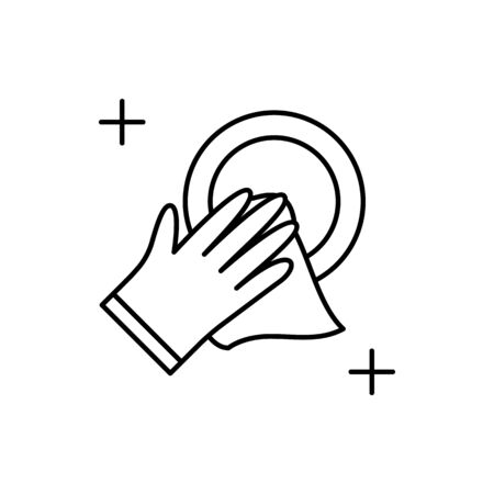Dish, towel icon. Simple line, outline vector elements of housework for ui and ux, website or mobile application on white background