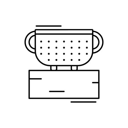 Colander icon. Simple line, outline vector elements of kitchen object for ui and ux, website or mobile application on white background Vetores