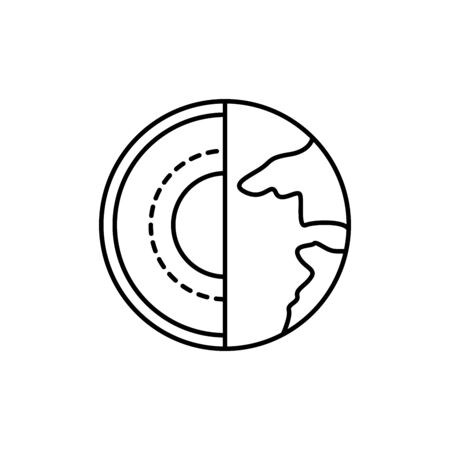 earth, core concept line icon. Simple element illustration. earth, core concept outline symbol design from space set. Can be used for web and mobile on white background