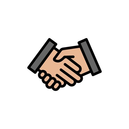 Handshake colored icon. Simple color element illustration. Handshake concept outline symbol design from Business strategy set. Can be used for web and mobile on white background Stock Illustratie