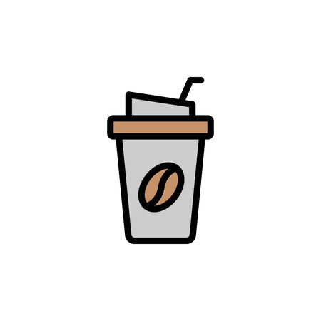 Coffee, plastic colored icon. Simple color element illustration. Coffee, plastic concept outline symbol design from Bar set. Can be used for web and mobile on white background Stock Illustratie