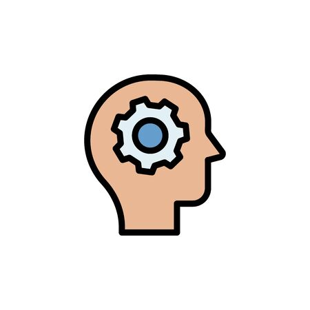 Processing, brain, gear colored icon. Simple color element illustration. Processing, brain, gear concept outline symbol design from Business strategy set. Can be used for web and mobile on white background Stock Illustratie