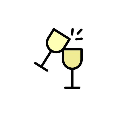 Goblet, cheers colored icon. Simple color element illustration. Goblet, cheers concept outline symbol design from Bar set. Can be used for web and mobile on white background
