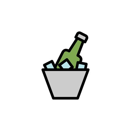 Beer bowl, ice colored icon. Simple color element illustration. Beer bowl, ice concept outline symbol design from Bar set. Can be used for web and mobile on white background Stock Illustratie