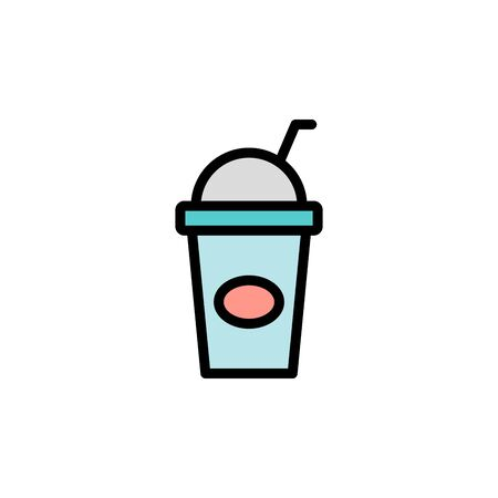 Take-away, plastic, juice colored icon. Simple color element illustration. Take-away, plastic, juice concept outline symbol design from Bar set. Can be used for web and mobile on white background