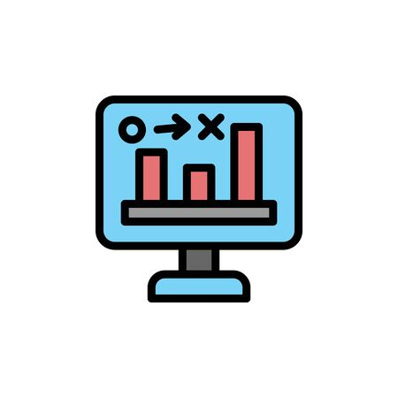 Stats, computer colored icon. Simple color element illustration. Stats, computer concept outline symbol design from Business strategy set. Can be used for web and mobile on white background