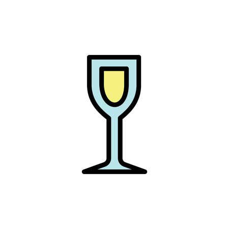White wine glass colored icon. Simple color element illustration. White wine glass concept outline symbol design from Bar set. Can be used for web and mobile on white background