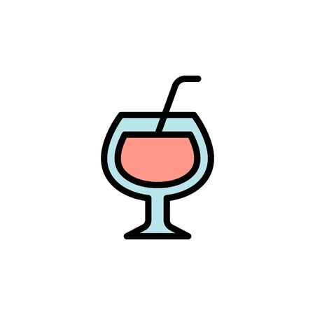 Cocktail, glass colored icon. Simple color element illustration. Cocktail, glass concept outline symbol design from Bar set. Can be used for web and mobile on white background