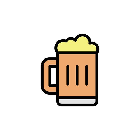 Beer glass colored icon. Simple color element illustration. Beer glass concept outline symbol design from Bar set. Can be used for web and mobile on white background Vettoriali