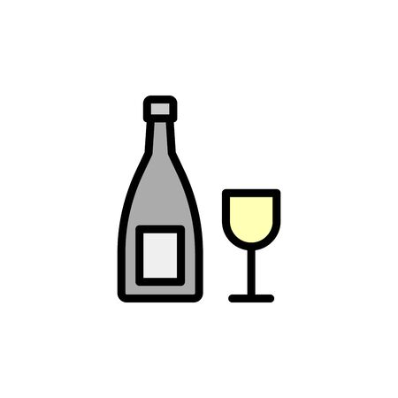 Wine, glass colored icon. Simple color element illustration. Wine, glass concept outline symbol design from Bar set. Can be used for web and mobile on white background