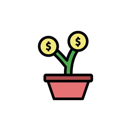 Flower, pot colored icon. Simple color element illustration. Flower, pot concept outline symbol design from Business strategy set. Can be used for web and mobile on white background