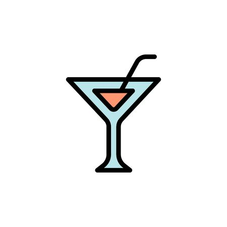 Martini glass colored icon. Simple color element illustration. Martini glass concept outline symbol design from Bar set. Can be used for web and mobile on white background