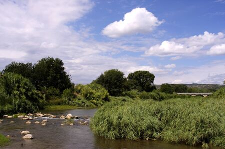 sommer: Flusslandschaft in Suedfrankreich, Sommer Stock Photo