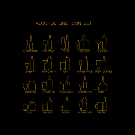 bebidas alcoh�licas: The icon set Alcoholic beverages . Line images of bottles and glasses for drinks. Vectores