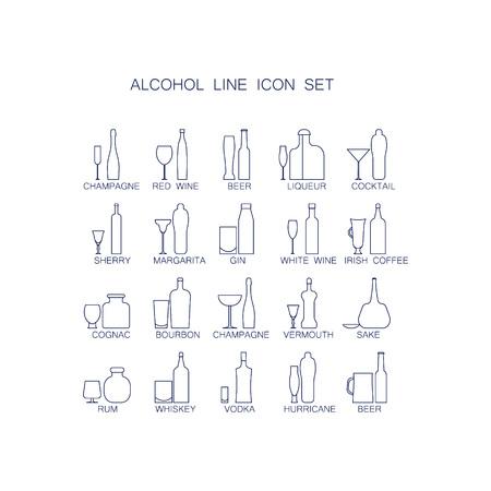 bebidas alcohÓlicas: El conjunto de iconos Las bebidas alcohólicas. imágenes de líneas de botellas y vasos para bebidas.