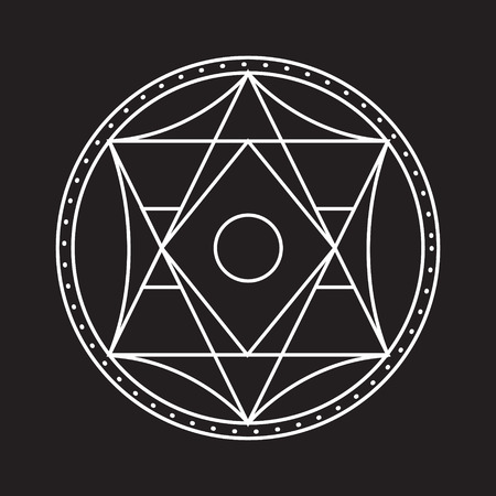 Alchemical round. White symbol at black background. illustration of geometrical shape uniting in all composition. Illustration