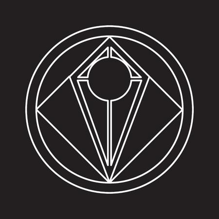 Alchemical round. White symbol at black background. Illustration